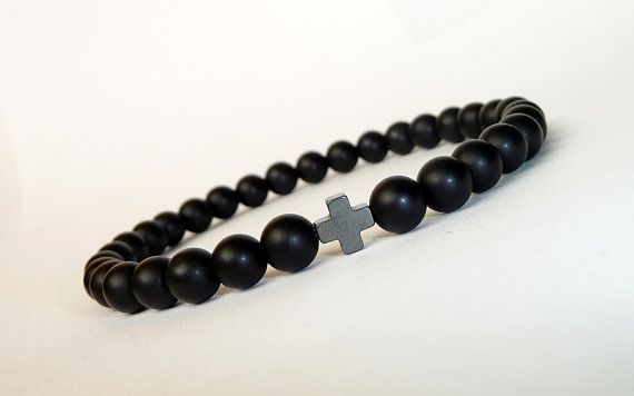 Men's BLACK Bracelet Cross //Matte Onyx, Hematite // Handcrafted Gemstone Bracelet //  Men's Mala Bracelet, Mala Beads Bracelet,gift for him