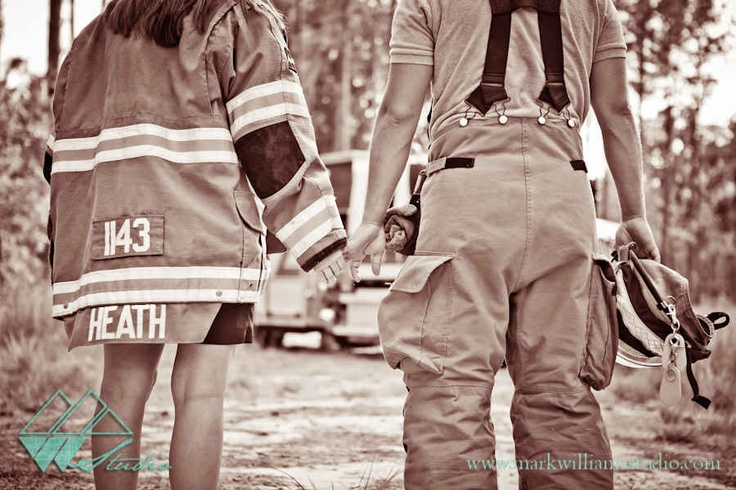Omg how sweet!! Wearing my new last name with his jacket on :) gotta have at least one firefighter picture ❤