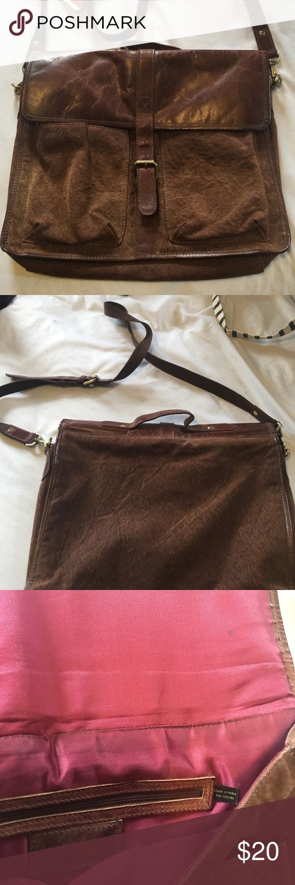 Messenger bag Brown with fake leather accents messenger bag. Buckle closure. Some lite stains on the inside Martin satin lining one zipper closure inside Topman Bags Crossbody Bags