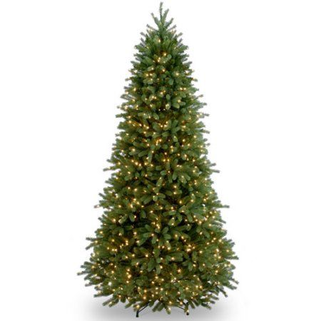 National Tree Pre-Lit 7-1/2' Feel-Real Jersey Fraser Slim Fir Hinged Artificial Christmas Tree with 800 Clear Lights, Green