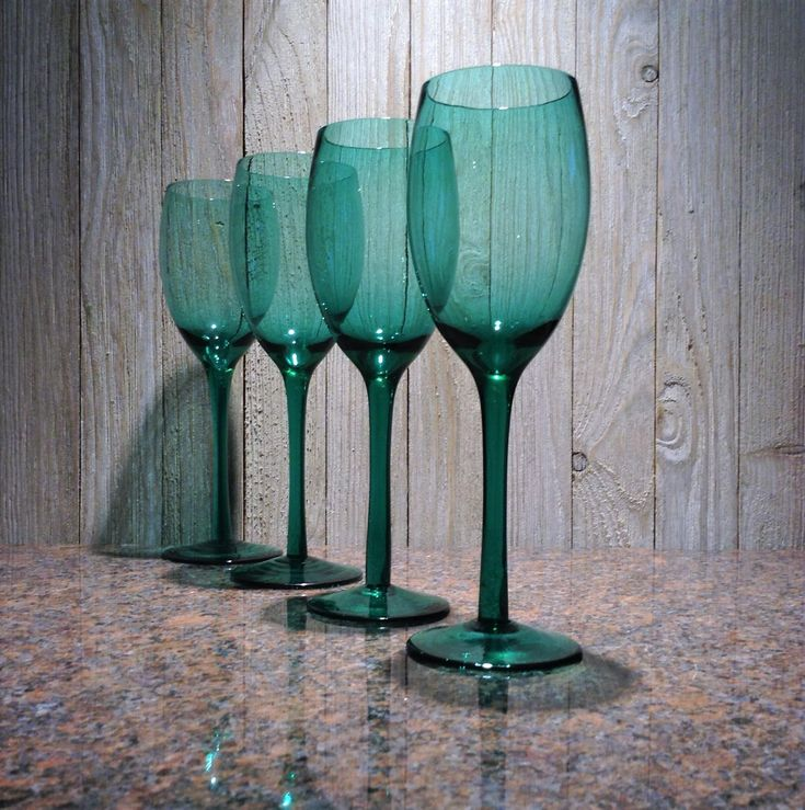 Teal Green Wine Glasses, Hand Blown Set of 4 Vintage Green Stemware, Long Stem Wedding Glassware, New Years Toasting Glasses, Gift for Her! #whiteroostercurios #etsy #vintage #etsyfinds #etsygifts #weddingglasses #newyearsevetoast