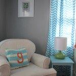 Bright and Modern Orange, Turquoise, Gray Nursery Glider
