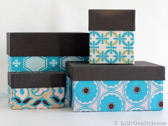 How to cover boxes with fabric or wallpaper {In My Own Style.com}