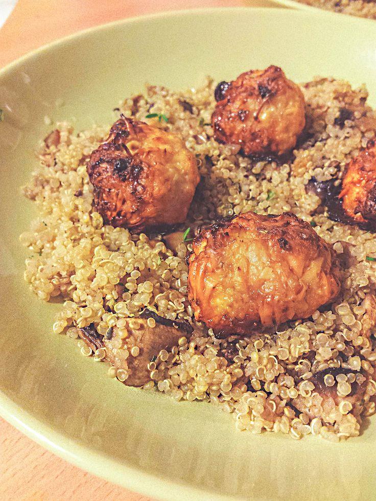 Casserole de quinoa aux champignons et boulettes de poulet sucrées-salées #healthyfood #healthy #healthyreceipe #quinoa