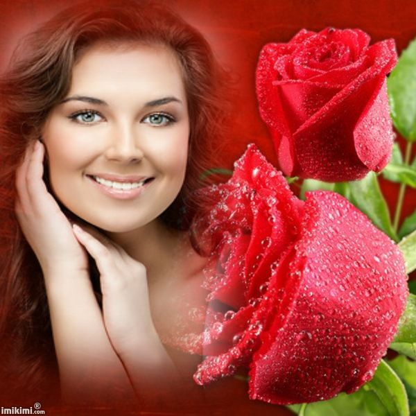 Lovely lady and roses. You can click on this to replace her photo with your own using Imikimi. It's free.