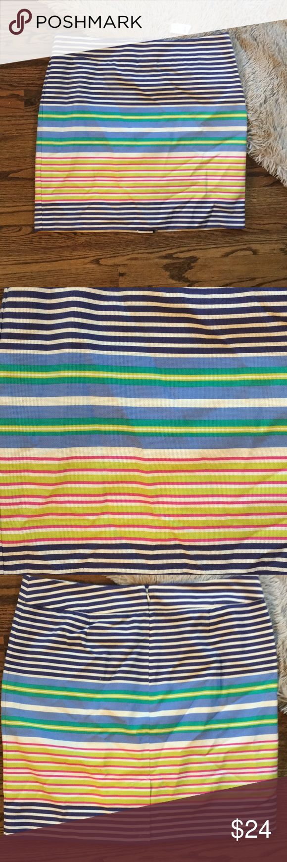 Loft multicolored canvas striped pencil skirt Loft multicolored canvas striped pencil skirt with back middle slit and back zipper. NWT. Size 14. LOFT Skirts