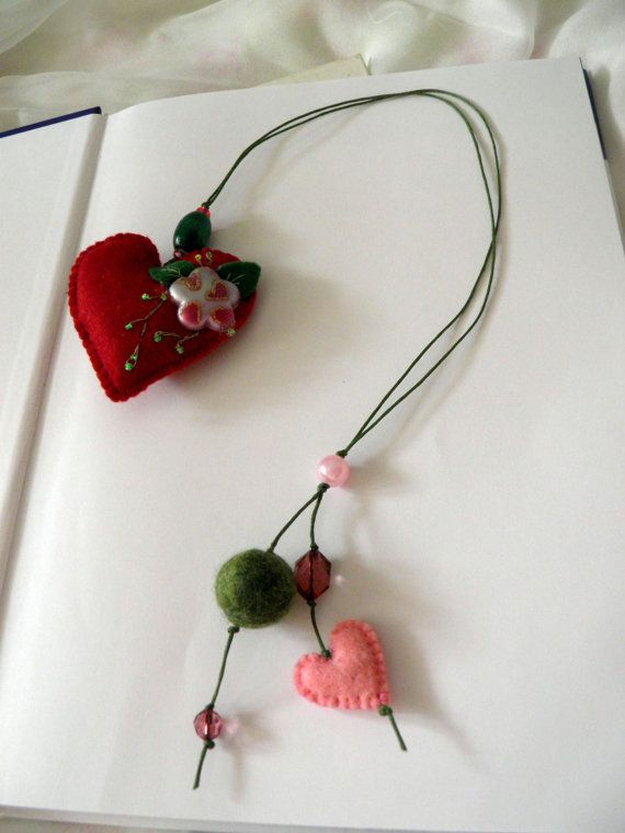 VALENTINE BOOKMARK / Felt bookmark with a red cherry by Marywool, $11.00