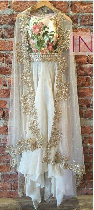 Floral white gold lehenga