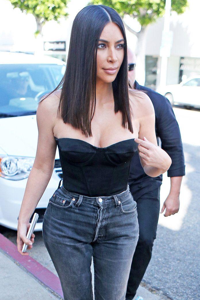 Kim Kardashian Blunt Lob Haircut   InStyle.com