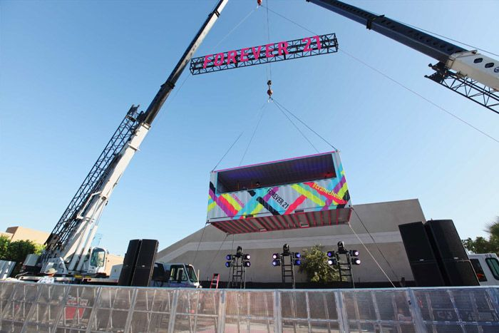"At Forever 21's ""Party in the Sky"" on Saturday evening in Palm Springs, two enormous cranes hoisted the brightly colored DJ booth, in a ship... Photo: Courtesy of Forever 21"