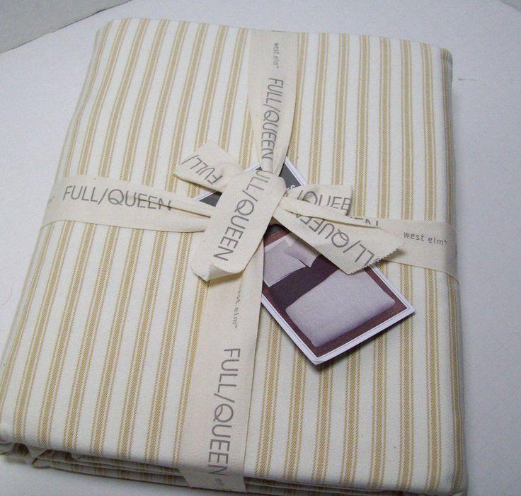 West Elm Straw Brown Ivory Ticking Stripe Full Queen Duvet Cover New | Home & Garden, Bedding, Duvet Covers & Sets | eBay!