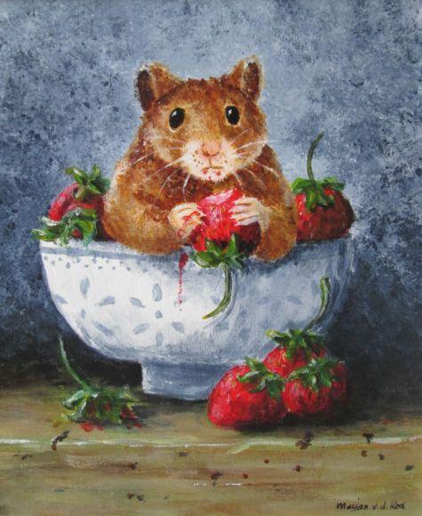 Strawberry Thief, hamster still-life by Marjan's Art