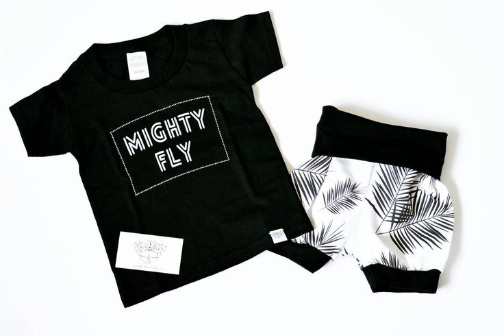 Your little will be looking mighty fly in our black palm leaf bummies and Kellen and Keaton tee. This is summer fashion!