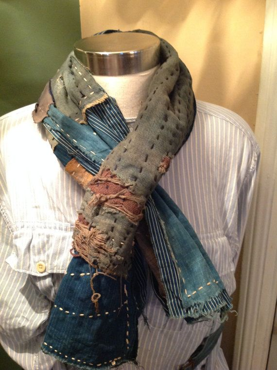 Handmade Japanese boro scarf made from collected boro material, kimonos, and various other antique Japanese textiles. Hand wash only.