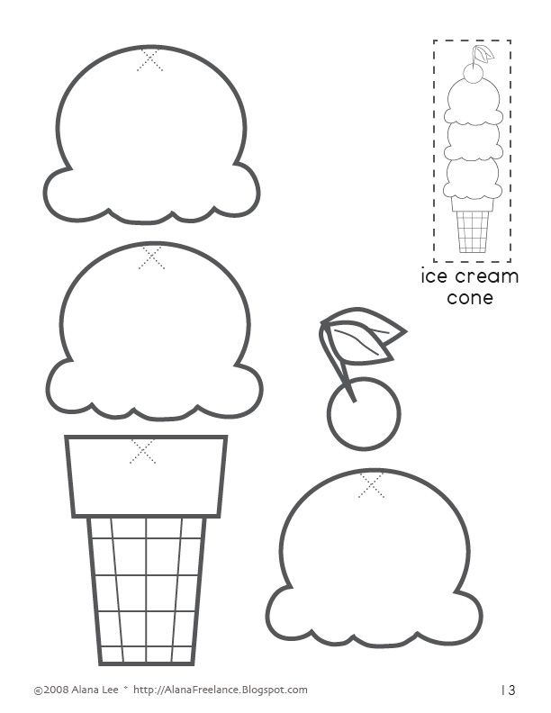 paper cutting templates for kids - birthday month written on ice cream cone scoops with