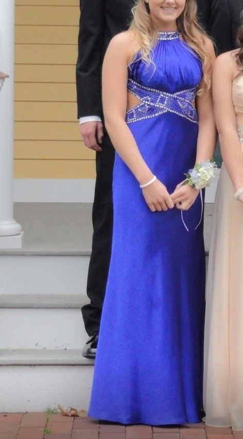 Worn Once Davids Bridal Royal Blue Prom Dress With Cut Outs Size