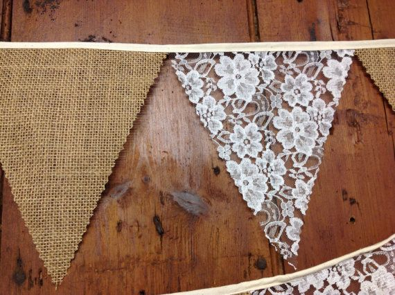 Burlap, Hessian and lace Wedding Bunting Banner 34ft 10mts 58 Flags a Rustic Country cottage, shabby chic style perfect venue decoration on Etsy, £19.95