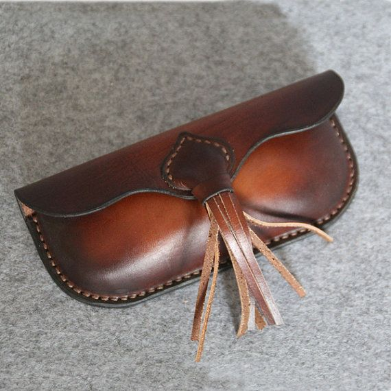 Handmade Vintage Leather Glasses Case sunglasses cover--vintage light brown