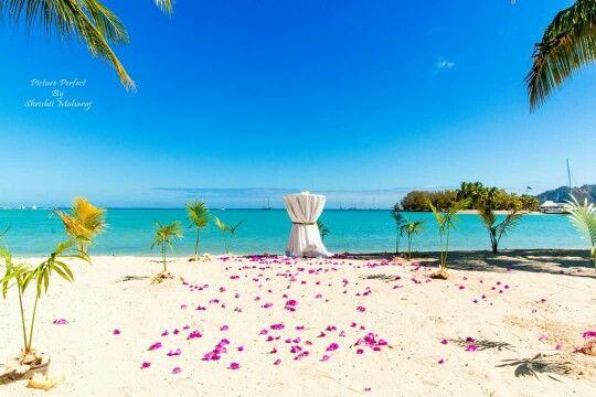 Musket cove resort beach wedding setup