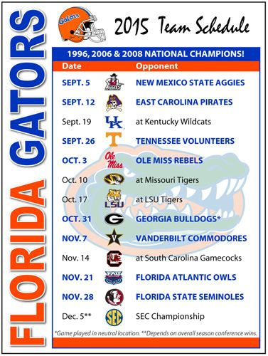 2015 Florida Gators Football Schedule Magnet #Magnet