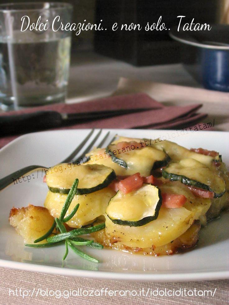 patate e zucchine al forno con mortadella e formaggio