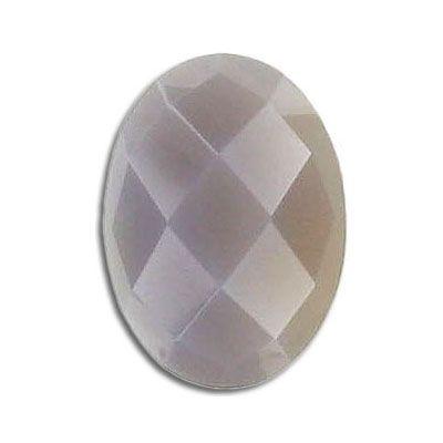 Cabochon semi-precious, faceted, 25x18mm, agate, natural