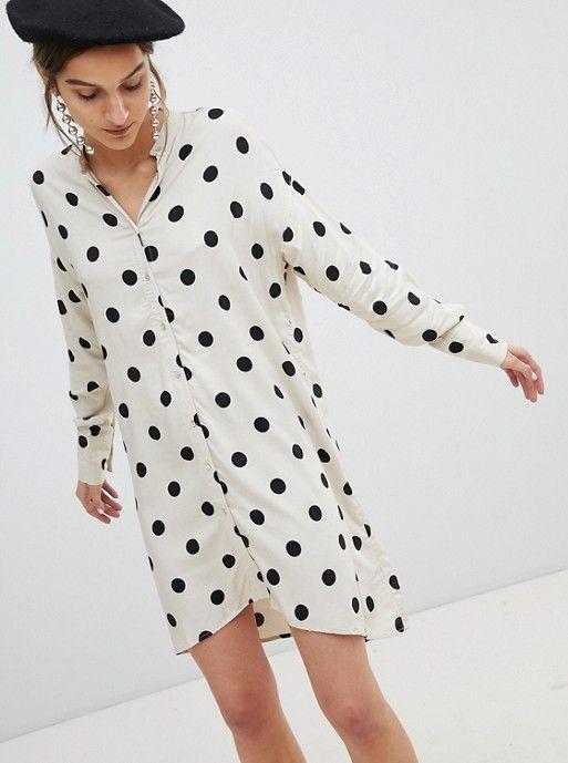 def35d69446 Stradivarius Polka Dot Shirt Dress