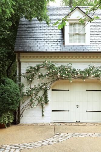 trellis & hardware: Idea, Exterior, Garage Doors, Garages, Outdoor, Climbing Roses, Curb Appeal, Garden, Carriage House