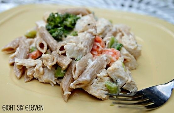 -8 OZ WHOLE WHEAT PASTA  -1 PACKAGE OF MICROWAVABLE MIXED VEGETABLES (BROCCOLI, CAULIFLOWER, CARROTS) IN LIGHT CHEESE SAUCE  -4 WEDGES LAUGHING COW ORIGINAL SWISS CHEESE  -1 CHOPPED COOKED CHICKEN BREAST  -GARLIC POWDER  -SALT & PEPPER