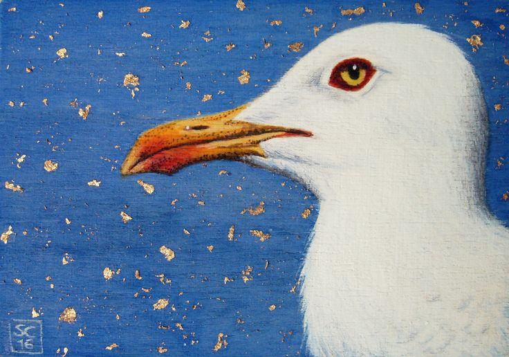 ✦ Gabbiano nella notte ✦ Acquerello, acrilico, foglia oro su compensato 6,5 x 9,5 cm  - SC/16