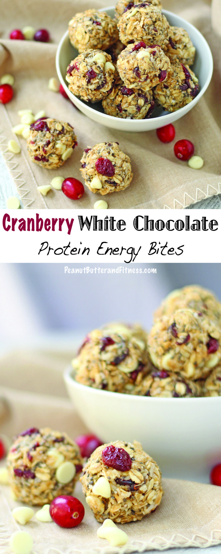 Cranberry White Chocolate Protein Energy Bites - a great pick me up that won't weigh you down! Perfect for your weekly snack prep.  Cranberry White Chocolate Protein Energy Bites Yield: 16 servings • Serving Size: 1 bite • Calories per serving: 117 • Fat: 6 g • Protein: 4 g • Carbs: 13 g • Fiber: 3 g • Sugar: 5 g • Sodium: 67 mg • Cholesterol: 0 mg