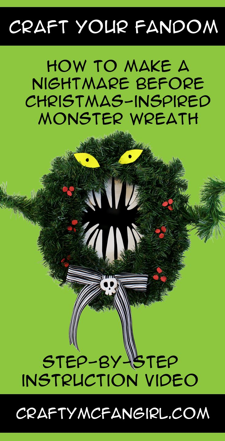 This Monster Wreath DIY craft tutorial is inspired by The Nightmare Before Christmas decoration of the Haunted Mansion at Disneyland.