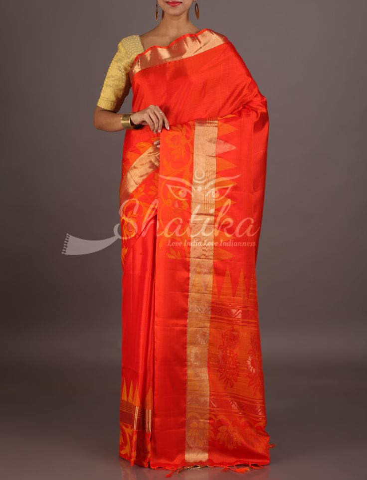 Aarushi Fiery Plain Orange With Gold Stripe Border Pure Mulberry Silk Saree