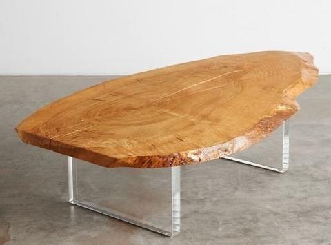 Mesa de centro rústica com base em acrílico - Loja de Móveis de Madeira Maciça. Moveis Rusticos