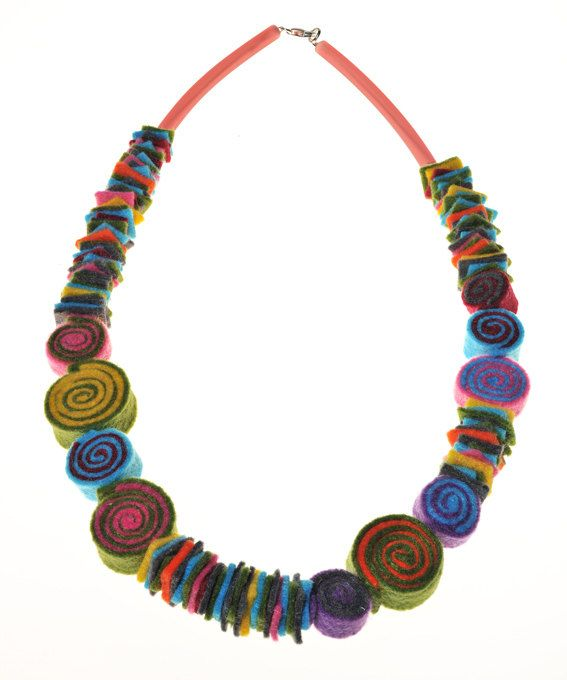 FELT NECKLACE *  Colourful long necklace with handmade felt spirals