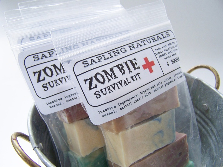 Zombie Survival Kit - travel size - great gift for men, nerds, survivalists. $5.00, via Etsy.