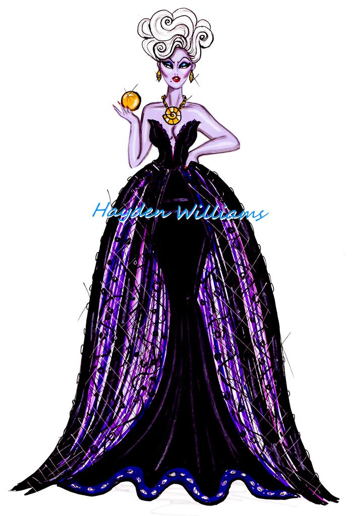 #Hayden Williams Fashion Illustrations: The Disney Diva Villainess collection by Hayden Williams: Ursula