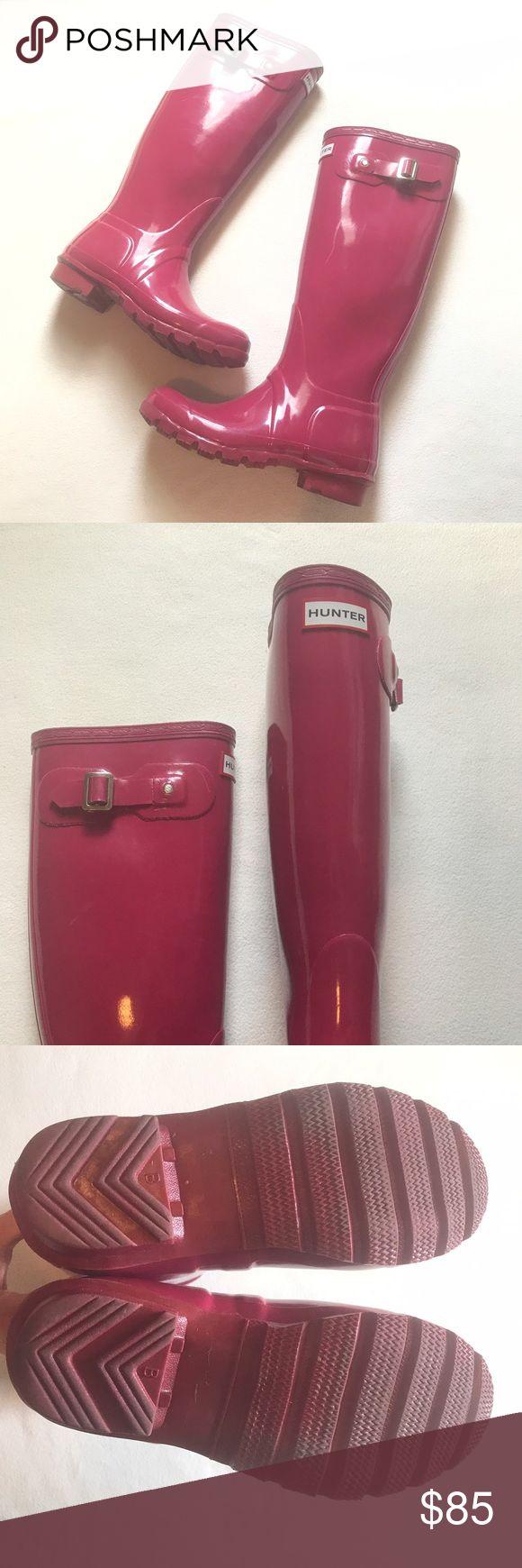 Raspberry High Gloss Tall Hunter Rain Boots Hunter. High gloss. Tall. Good condition. Very minimal signs of wear. Size US 4m/5f. UK 3. EU 35/36 Hunter Boots Shoes