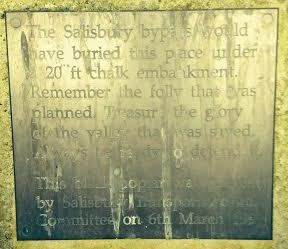 Wayside plaque explaining that this path would not be here if the Salisbury bypass had been built.