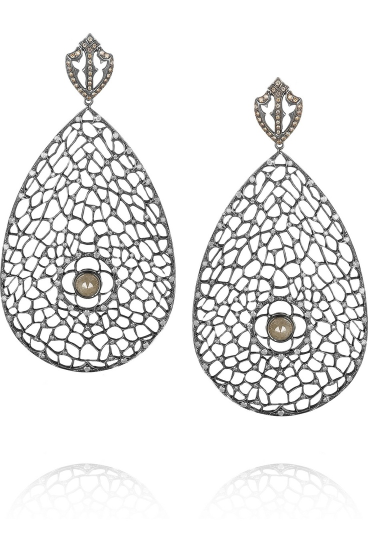 Loree Rodkin|Spiderweb 18-karat rhodium white gold diamond earrings|NET-A-PORTER.COM