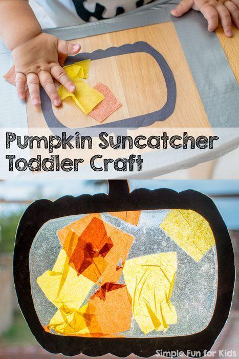 My son's very first craft at 13 months: Pumpkin Suncatcher Toddler Craft!