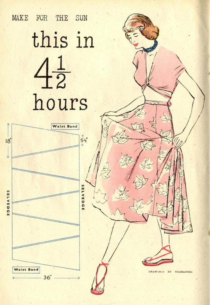 4 1/2 hour vintage skirt pattern