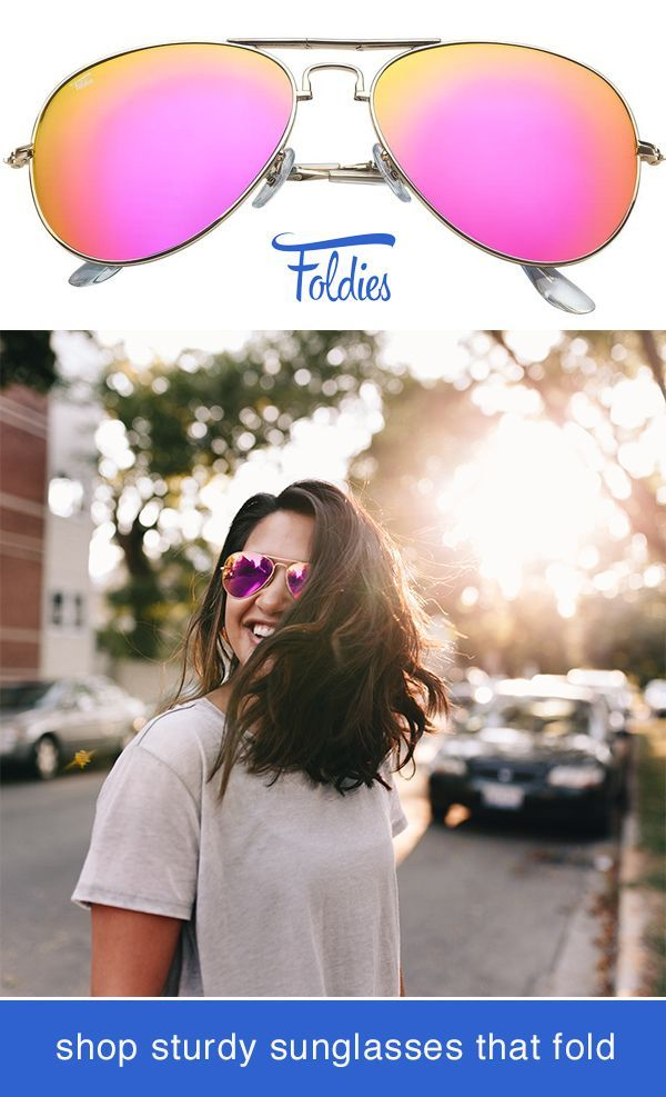 60b10cf5e Foldable Pink Aviator Sunglasses by Foldies. Comes with a 2 Year Warranty.  Shop styles including gold frame sunglasses, polarized mirror lenses, ...