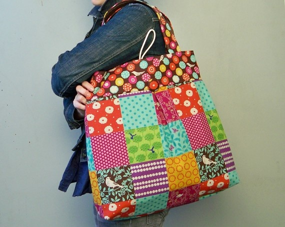 Patchwork Bag Extra Large Japanese Fabric Key by retrofied, $86.00