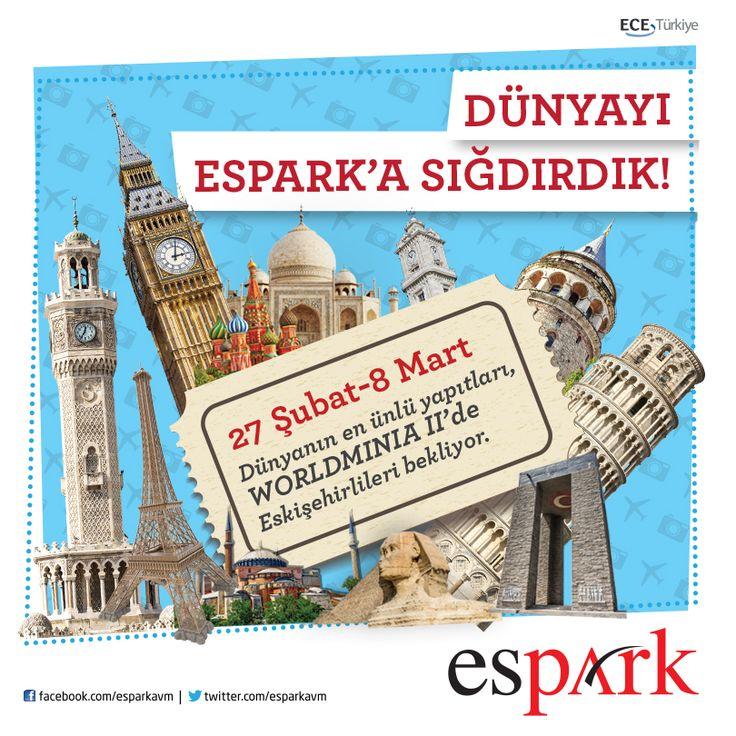 Dünyayı #Espark'a sığdırdık.  Dünyanın en ünlü yapıları Worldminia sergisi ile 27 Şubat - 8 Mart tarihleri arasında #Espark'ta.