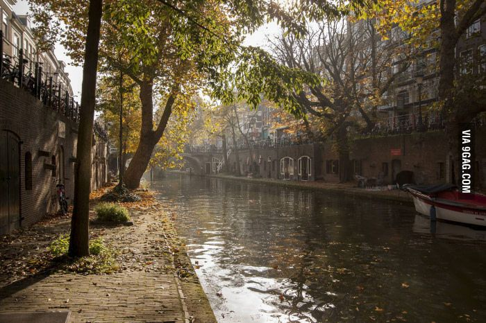 Canal in the city of Utrecht, the Netherlands