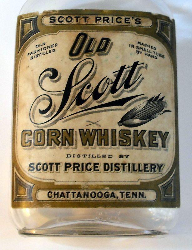 Scott Price Corn Whiskey Bottle Chattanooga Tennessee Full Label