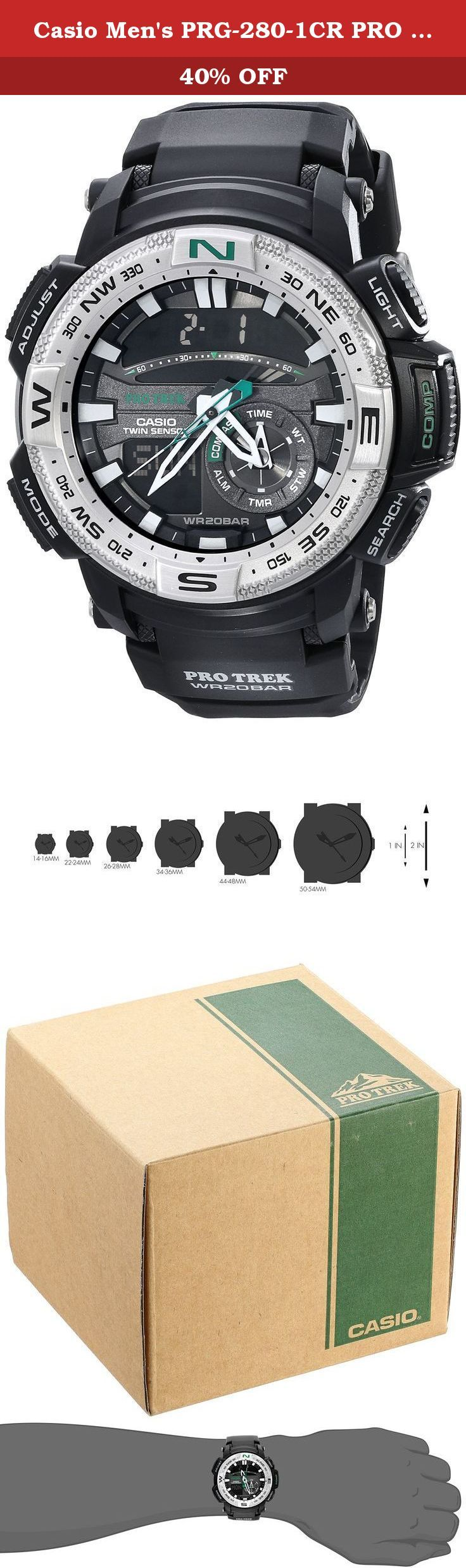 Casio Men's PRG-280-1CR PRO TREK Analog-Digital Display Quartz Black Watch. Casio - ProTrek - Twin Sensor - Thermometer Compass Neobrite Black Resin watch - PRG280-1 - Introducing the Twin Sensor addition to the PRO TREK lineup. Super Illuminator keeps information readable even in the dark, while one-push button operation for sensor functions and display illumination enable easy operation. Other features include 200 meter water resistance and low-temperature resistance for plenty of...