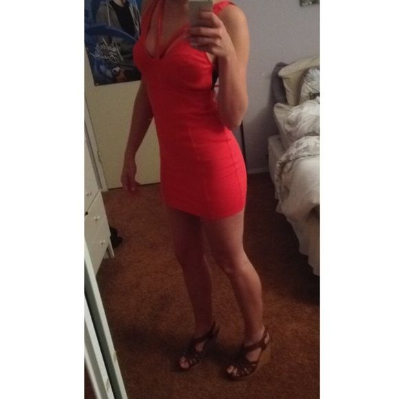 """Tight Pink """"Going Out"""" Dress Tight pink dress! Perfect for going out! Never been worn before and has cute front/back straps! Will model if asked!  Dresses"""