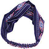 TININNA Donne Vintage modello Rhombus elastico ritorto fascia per capelli Cerchietti archetto hairband turbante Accessori per capelli Profondo blu